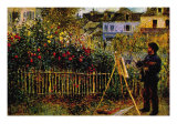 Monet Painting In His Garden In Argenteuil Poster by Claude Monet