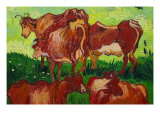 Les Vaches Print by Vincent van Gogh