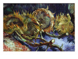 Four Sunflowers Gone To Seed Print by Vincent van Gogh