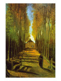 Autumn Tree Lined Lane Leading To a Farm House Posters by Vincent van Gogh