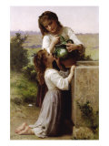 At The Fountain Poster by William Adolphe Bouguereau