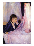 Mother Looks At Baby In The Cradle Poster by Berthe Morisot