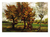 Autumn Landscape with Four Trees Posters by Vincent van Gogh