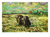 Two Peasant Women Digging In Field with Snow Prints by Vincent van Gogh