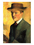 Self-Portrait with Hat Prints by Auguste Macke