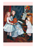 Portrait of The Daughters of Catulle MendAt The Piano Prints by Pierre-Auguste Renoir