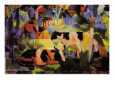 Landscape with Cows and Camels Posters by Auguste Macke