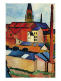 St. Mary's Church with Houses and Chimney Prints by Auguste Macke