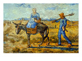 Morning with Farmer and Pitchfork; His Wife Riding a Donkey and Carrying a Basket Poster af Vincent van Gogh