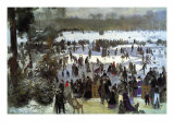 Skating Runners In The Bois De Bologne Prints by Pierre-Auguste Renoir