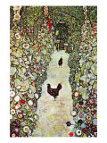 Garden Path with Chickens Print by Gustav Klimt