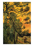 Pine Trees Against a Red Sky with Setting Sun Art by Vincent van Gogh