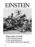 Einstein; Three Rules of Work Print by Wilbur Pierce