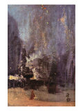 Nocturne In Black and Gold, The Falling Rocket Print by James Abbott McNeill Whistler