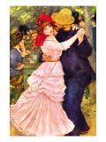 Dance In Bougival (Detail) Art by Pierre-Auguste Renoir
