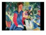 Girls with Fish Bell Giclee-tryk i høj kvalitet af Auguste Macke