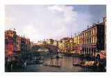 The Rialto Bridge Print by  Canaletto