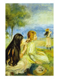 Girls By The Seaside Prints by Pierre-Auguste Renoir