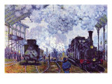 Saint Lazare Station In Paris, Arrival of a Train Pósters por Claude Monet