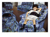 Small Girl In Blue Posters by Mary Cassatt