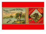 Puget Sound Salmon Can Label Poster