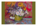 Still-Life with Roses and Sunflowers Print by Vincent van Gogh