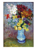 Flowers In a Blue Vase Print by Vincent van Gogh