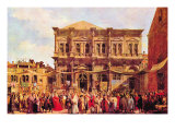 Festival In San Rocco Print by  Canaletto