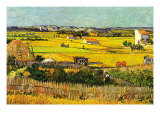 Harvest At La Crau with Montmajour In The Background Premium Giclee-trykk av Vincent van Gogh