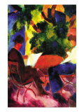 Couple At The Garden Table Print by Auguste Macke