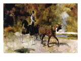 The One Horse Carraige Print by Henri de Toulouse-Lautrec