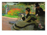 Camille Monet On a Garden Bench Poster by Claude Monet