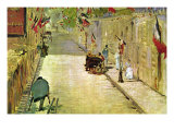 Rue Mosnier with Flags Prints by &#201;douard Manet