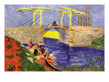 The Langlois Bridge At Arles with Women Washing Posters by Vincent van Gogh