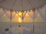 Dinner at the Beach, Maldives, Indian Ocean, Asia Photographic Print by Sakis Papadopoulos