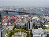 View from Atop World Trade Center of Osaka Port Built on Reclaimed Land in Osaka Bay, Osaka, Japan Photographic Print