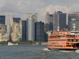 Famous Orange Staten Island Ferry Approaches Lower Manhattan, New York Photographic Print by John Woodworth