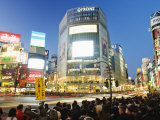 Night Lights at Shibuya Crossing, Shibuya Ward, Tokyo, Japan, Asia Photographic Print by Christian Kober