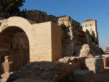 Restored Ruins of Roman City are Visible by River Ebro in Centre of City of Zaragoza, Aragon, Spain Photographic Print by David Pickford
