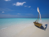 Traditional Dhoni on the Beach, Maldives, Indian Ocean, Asia Photographic Print by Sakis Papadopoulos