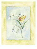 Yellow Butterfly With White Flowers Posters by Paige Houghton
