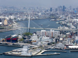 Central Osaka City Behind the Tempozan Bridge Which Crosses over the Aji River at Osaka Bay, Japan Photographic Print