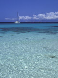 Sea and Sailing Boat, Formentera, Balearic Islands, Spain, Mediterranean, Europe Photographic Print by Vincenzo Lombardo