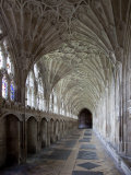 Interior of Cloisters with Fan Vaulting, Gloucester Cathedral, Gloucestershire, England, UK Photographic Print by Nick Servian