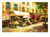 The Flower Market Giclee Print by Han Chang