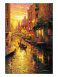 Gondola in Sunset, Venice Giclee Print by Haixia Liu