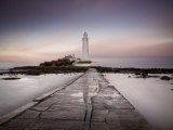 St. Mary's Island and St. Mary's Lighthouse at Dusk, Near Whitley Bay, Tyne and Wear, England, UK Photographic Print by Lee Frost