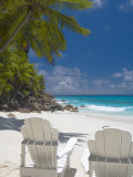 Two Adirondack Chairs on Tropical Beach, Seychelles, Indian Ocean, Africa Fotografisk tryk af Sakis Papadopoulos