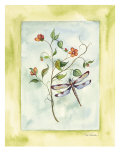 Dragonfly With Orange Flowers Prints by Paige Houghton