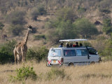 Tourists on Safari Watching Giraffes, Masai Mara National Reserve, Kenya, East Africa, Africa Photographic Print by Sergio Pitamitz